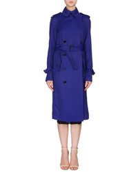 Fluid double breasted trench coat deep cobalt medium 651833
