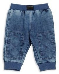 Little Marc Jacobs Babys Superhero Denim Effect Knee Patch Trousers