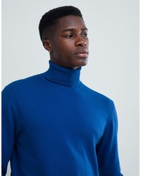 Esprit Cashmere Blend Roll Neck Jumper In Blue