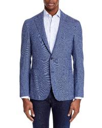 Canali Fit Stretch Tweed Cotton Blend Sport Coat