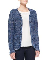 Neiman Marcus Hook Front Fringed Tweed Jacket