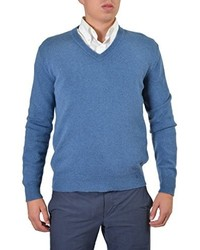 Dolce & Gabbana 100% Wool Blue Knitted V Neck Pullover Sweater