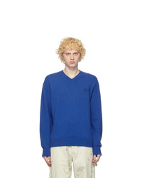 Off-White Blue Cashmere Logo Sweater