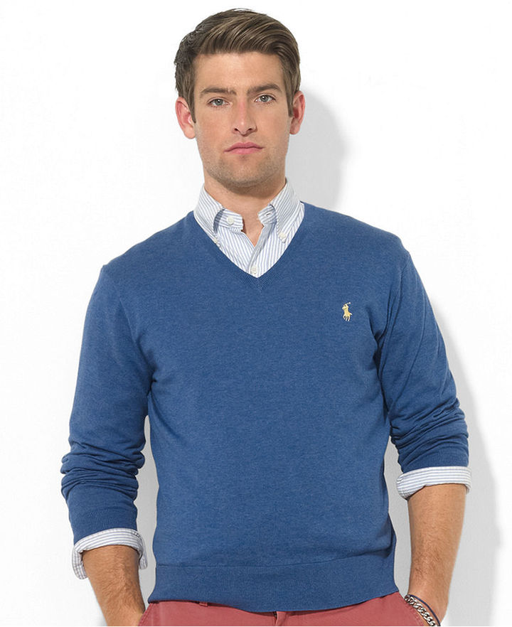 polo ralph lauren pima cotton v-neck cardigan sweater