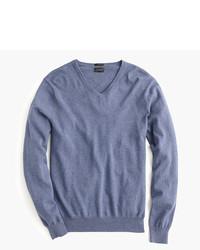 Slim cotton cashmere v neck sweater medium 333189