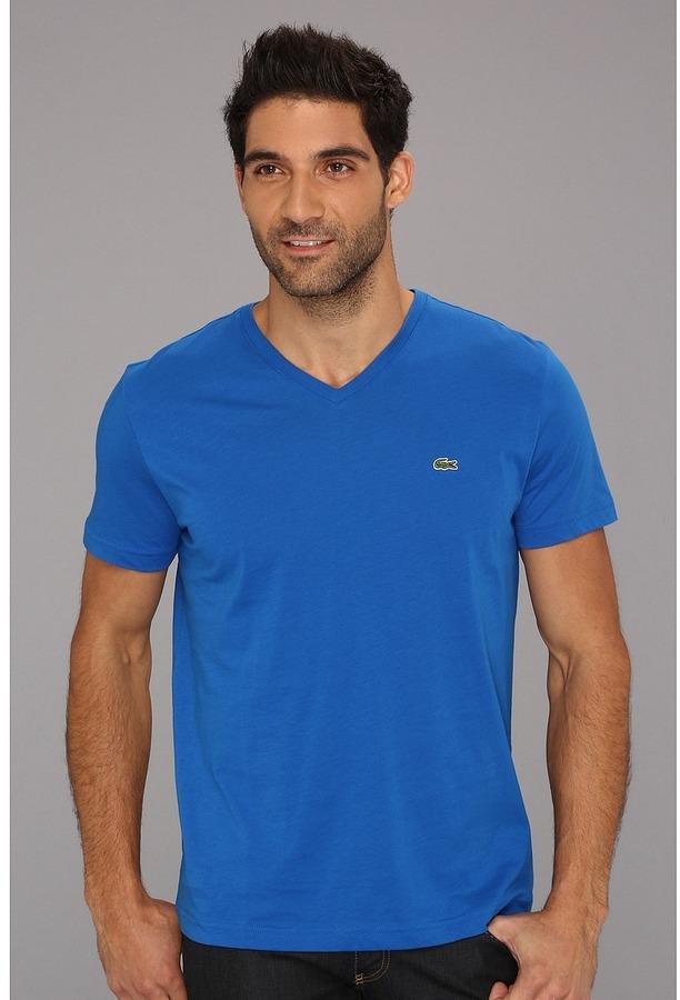 6b7868c30e $49, Lacoste Short Sleeve Pima Jersey V Neck T Shirt Short Sleeve Pullover