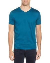 BOSS Teal Slim Fit V Neck T Shirt