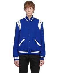 Saint Laurent Blue Virgin Wool Teddy Bomber Jacket