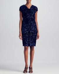 Magaschoni Drape Neck Burnout Velvet Dress