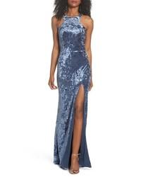La Femme Strappy Crushed Velvet Gown