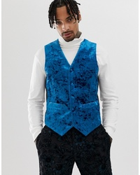 ASOS Edition Slim Tuxedo Waistcoat In Teal Burnout Velvet