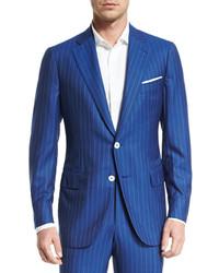 Super 160s striped wool suit blue medium 453148
