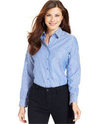 Women S Blue Vertical Striped Button Down Blouses From Macy S