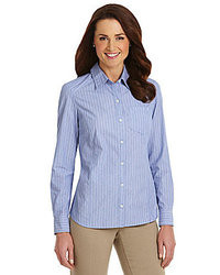 Blue Vertical Striped Button Down Blouse Westbound