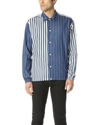 Blue Vertical Striped Chambray Long Sleeve Shirt