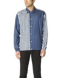 TOMORROWLAND Rope Striped Indigo Long Sleeve Shirt
