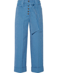 Tory Burch Robin Pinstriped Cotton Blend Seersucker Culottes Azure