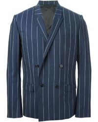 Blue Vertical Striped Double Breasted Blazer