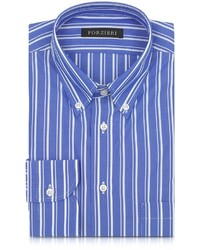Forzieri Blue And White Striped Button Down Shirt