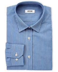 Moschino Blue Stripe Slim Fit Dress Shirt