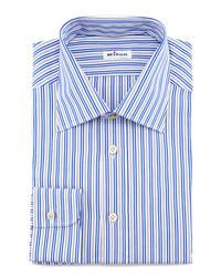 Kiton Striped Dress Shirt Bluegray