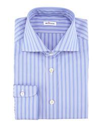 Kiton Striped Poplin Dress Shirt Blue