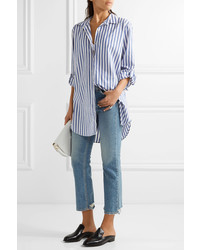 MiH Jeans Mih Jeans Oversized Striped Cotton Shirt Blue