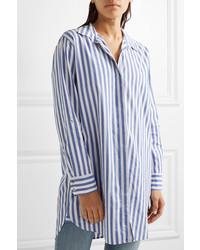 9bce839911e27 ... MiH Jeans Mih Jeans Oversized Striped Cotton Shirt Blue