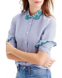 J.Crew Petite Perfect Eyelet Trim Stripe Shirt