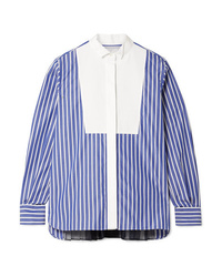 Sacai Piqu And Med Striped Cotton Poplin Shirt
