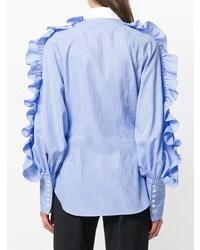 Sara Battaglia Ruffle Trim Striped Shirt