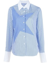 Satin striped star shirt medium 1342820