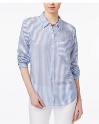 Tommy Hilfiger Striped Boyfriend Shirt Only At Macys