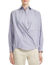 Vince Striped Cotton Poplin Crossover Shirt