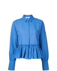 MSGM Striped Frill Hem Shirt