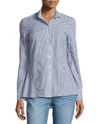 Derek Lam 10 Crosby Striped Long Sleeve Peplum Shirt Blue Pattern