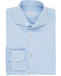 Kiton Striped M Body Dress Shirt Blue