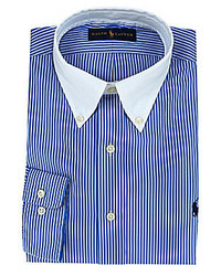 Polo Ralph Lauren Striped Poplin Button Down Collar Dress Shirt