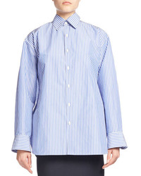 Balenciaga Striped Taffeta Pinch Back Shirt Bluewhite