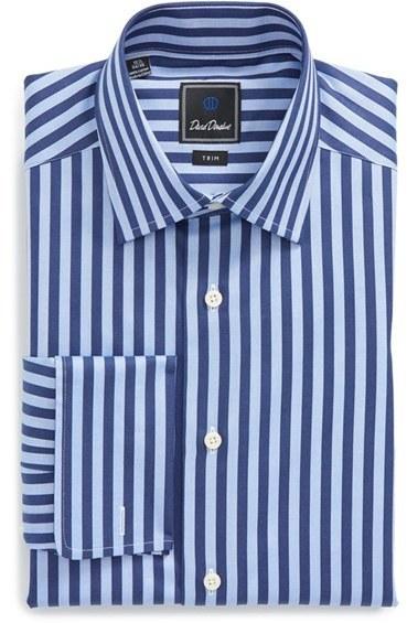 ababc1ef0 ... David Donahue Trim Fit Stripe Dress Shirt ...