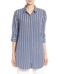 Trouv Stripe Button Front Tunic Shirt