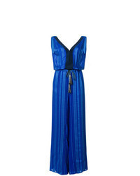 Blue Vertical Striped Jumpsuit