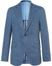 Blue delave slim fit herringbone linen blazer medium 3693663