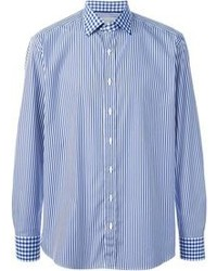 Blue Vertical Striped Long Sleeve Shirt