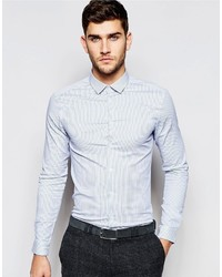Asos Brand Skinny Shirt In Blue Micro Stripe With Long Sleeves