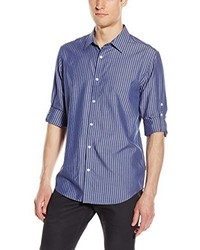 Calvin Klein Long Sleeve Cotton Tencel Dobby Stripe Roll Up Woven Shirt