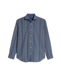 Bugatchi Classic Fit Print Stripe Sport Shirt
