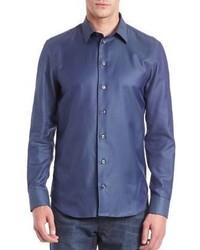 Armani Collezioni Diagonal Striped Cotton Sportshirt
