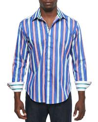 Robert Graham Drifter Striped Long Sleeve Sport Shirt Blue
