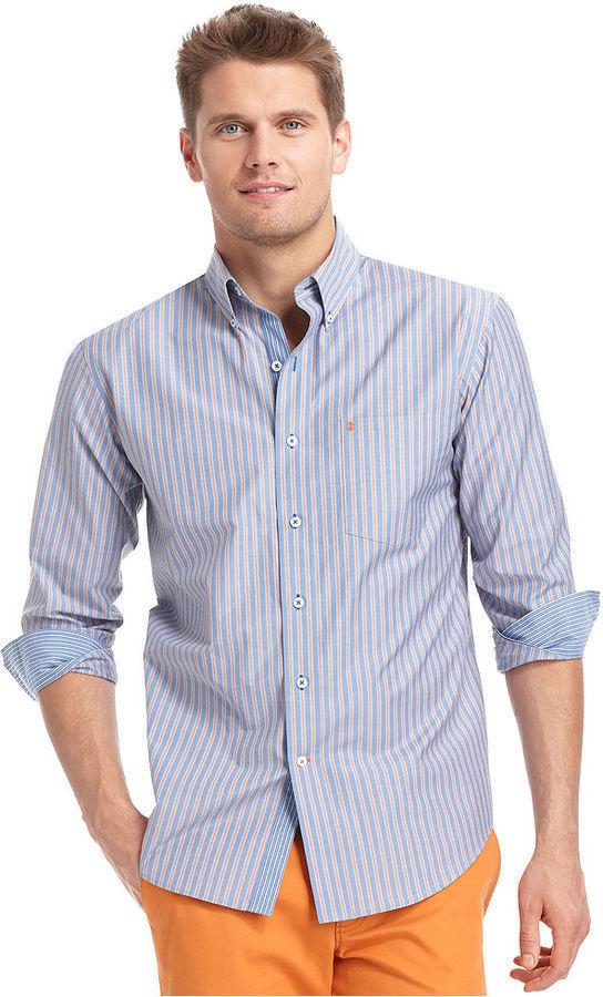 Izod Shirt Long Sleeve Assorted Striped Performance Shirt
